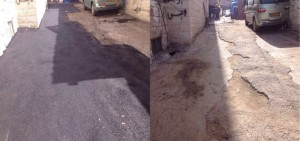 Before and after road pavement, Wadi Joz