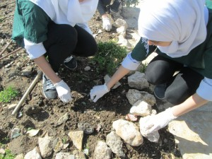 Young girls experimenting in gardening