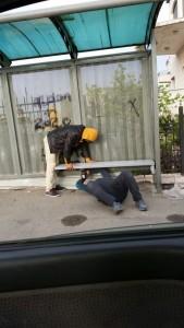 Fixing a bench in Shuafat