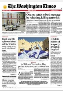 Washington Times front page