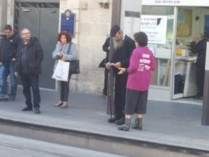 Speaking with passersby on the street