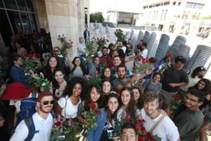 Gathering with flowers before going into the Old City