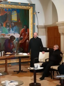 Father Daniel, telling the Dormition Abbey's story